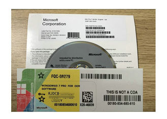 China DVD OEM COA License Sticker / Pack Windows 7 Pro 64 Bit COA Multi Languages factory